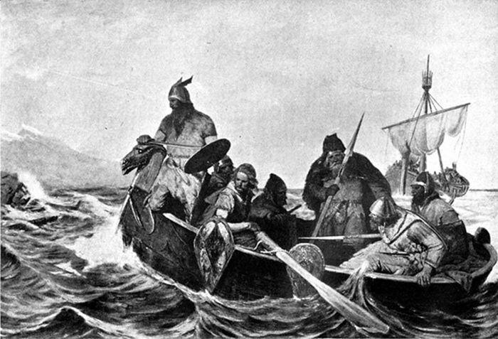 Un grupo de vikingos se dirige a tierra en un bote de remos. Ilustración de Oscar Wergeland.