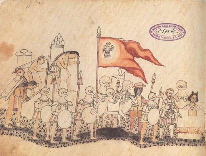 Página del Códice Azcatitlán en el que podemos ver al ejército español, con Hernán Cortés y la Malinche al frente.