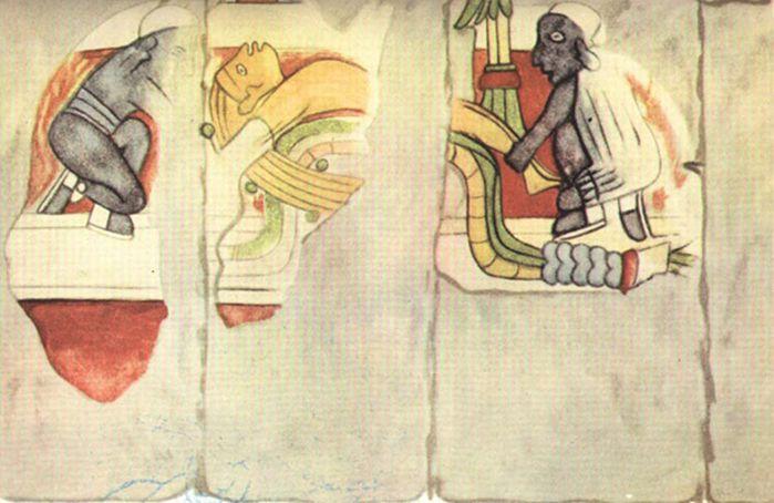 Murales de Chichén Itzá. Hombre de cabellos rubios a punto de ser sacrificado por dos hombres negros