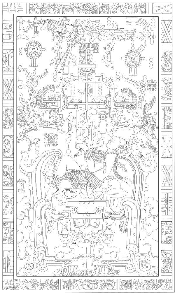 Grabado en la tapa del Sarcófago de Pacal, señor de Palenque
