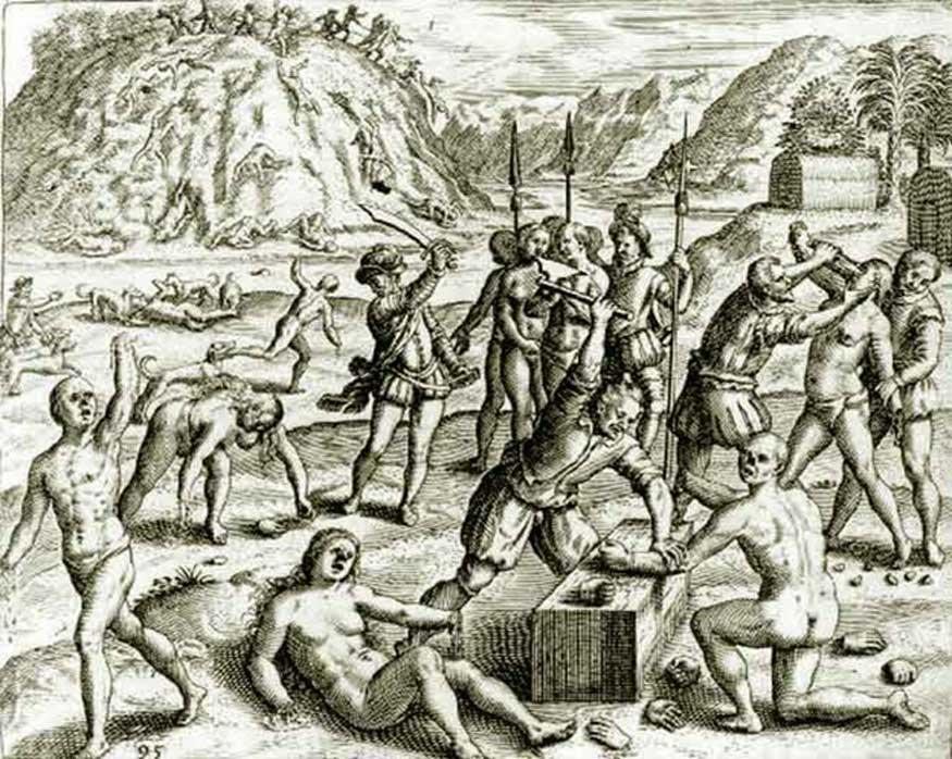 «Yo afirmo que yo mesmo vi ante mis ojos a los españoles cortar manos, narices y orejas a indios e indias sin propósito, sino porque se les antojaba hacerlo, y en tantos lugares y partes que sería largo de contar. Y yo vi que los españoles les echaban perros a los indios para que los hiciesen pedazos, y los vi así aperrear a muy muchos.» Bartolomé de las Casas, «Brevísima relación de la destrucción de las Indias», 1552