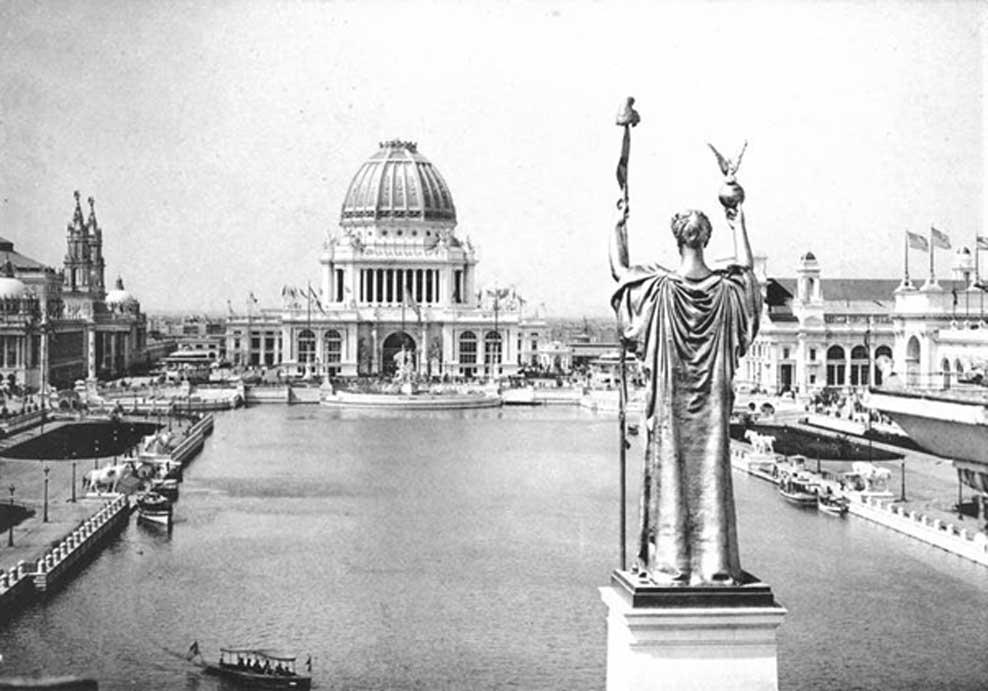 Panorámica desde el Peristilo, Corte de Honor y Gran Estanque de la Exposición Colombina Mundial de 1893 celebrada en Chicago