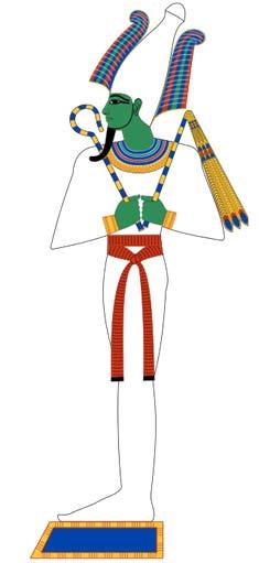 Osiris era el señor de los muertos en la antigua religión egipcia. Aquí, se muestra en las envolturas típicas de la momia. Basado en pinturas de la tumba del Nuevo Reino