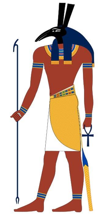 Set, una antigua deidad egipcia. Basado en pinturas de la tumba del Nuevo Reino