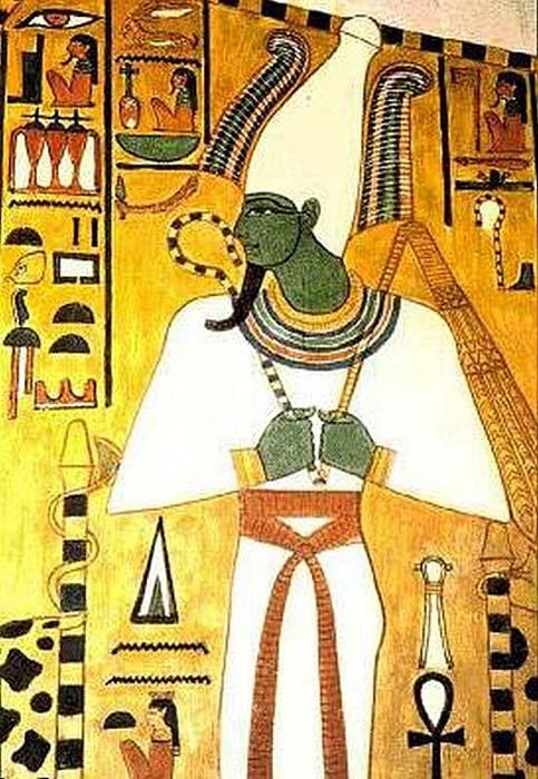 Dios egipcio Osiris aparece en un friso en una pared de la tumba QV66, el lugar de enterramiento de Nefertari (c. 1295-1255 aC)