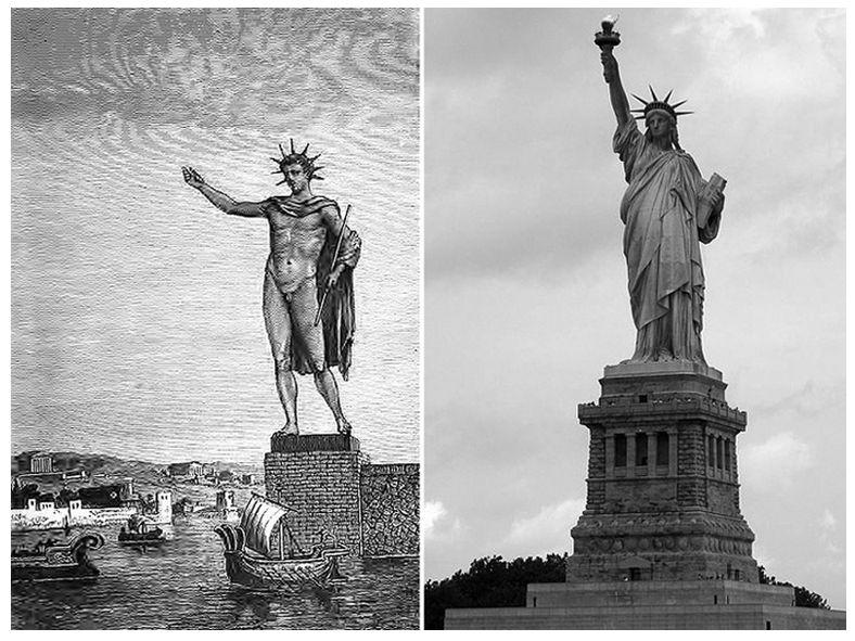 Colosales estatuas, del pasado y del presente. A la izquierda, ilustración del Coloso de Rodas de la antigua Grecia y, a la derecha, la Estatua de la Libertad de los Estados Unidos de América.