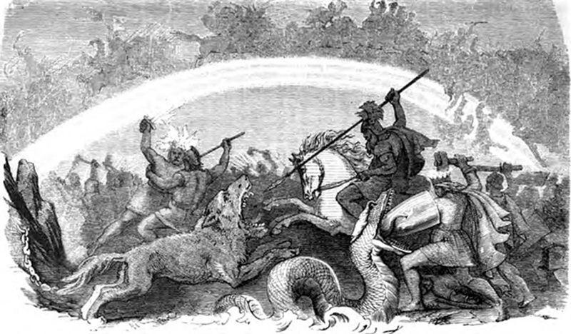 «La batalla de los dioses condenados», Ragnarök: Odín cabalga hacia la batalla y apunta con su lanza a la boca abierta del lobo Fenrir. Thor se defiende de la serpiente Jörmungandr con su escudo mientras empuña su martillo Mjöllnir, Freyr y el llameante Surtur combaten, y al fondo se observa cómo una inmensa batalla se libra sobre el puente del arco iris Bifröst y en torno a él.