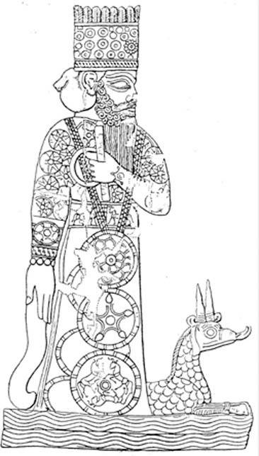 Representación babilónica del dios nacional Marduk, concebido como miembro destacado de los Anunnaki