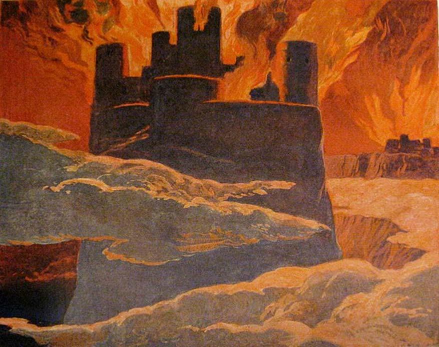 Escena de la última fase de Ragnarök, después de que Surtur haya sumido el mundo en fuego