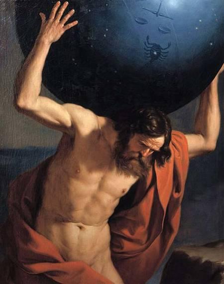 Uno de los gigantescos Titanes, Atlas, quien fue castigado a sostener los cielos sobre sus hombros por toda la eternidad