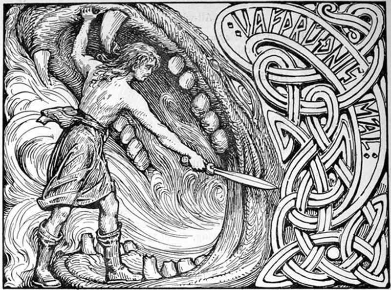 El dios Víðarr empuña su espada en las fauces del lobo Fenrir