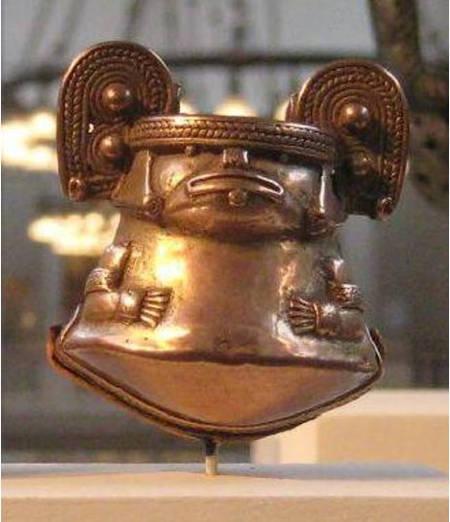 Campana de tumbaga, Cultura Tayrona, 1000-1500 A.D., Museo de Arte Metropolitano, Nueva York. 2010