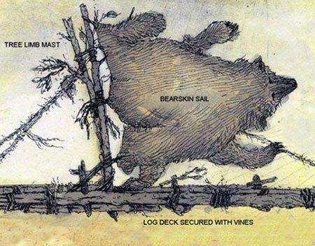 La teoría aceptada hasta ahora expone que los marinos de la Edad de Piedra construyeron balsas con troncos y confeccionaron velas realizadas con pieles de animales cosidas y amarradas a la rama de un árbol para atrapar los vientos