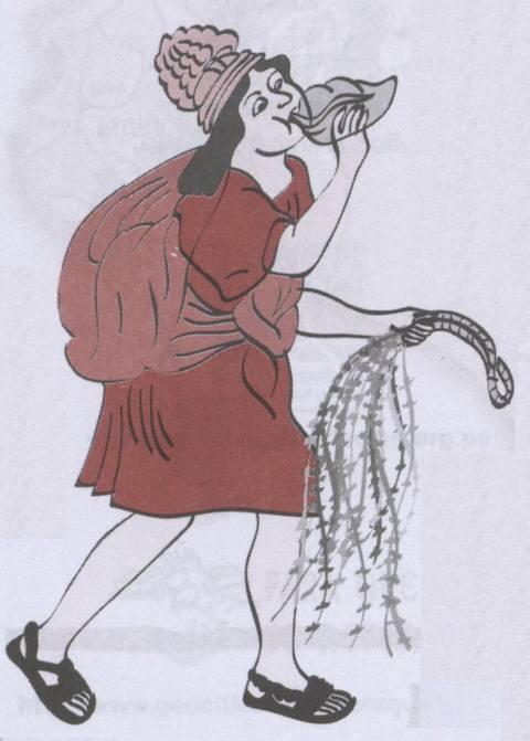 Grabado del siglo XVI mostrando un chasqui, mensajero inca, con quipus en su mano izquierda.