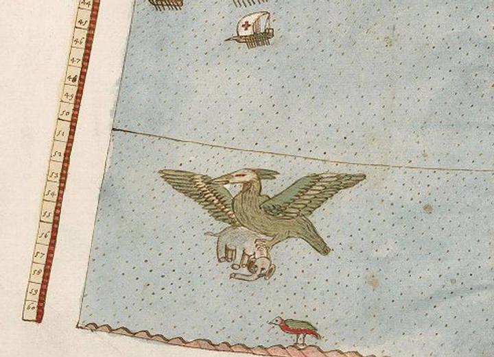 Una ave gigantesca vuela sobre el océano llevando un elefante en sus garras.
