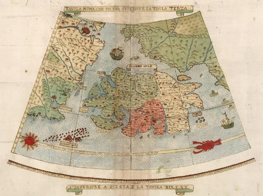 El extraño mapa contiene numerosos ejemplos de las confusiones geográficas de la época. Por ejemplo, Japón está representado como una gran isla alargada de oeste a este.