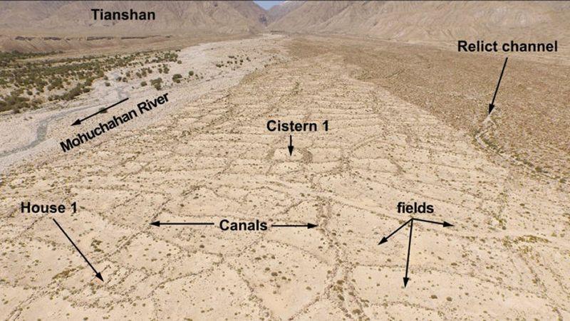 Vista aérea de un antiguo sistema de riego descubierto en las estribaciones de Xinjiang, China