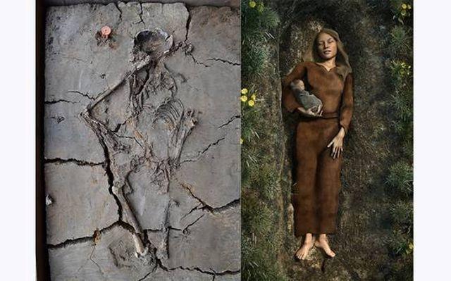 Izquierda: el bebé fue encontrado escondido debajo del brazo de su madre en una tumba en Nieuwegein, Países Bajos. Derecha: la impresión de un artista de la tumba