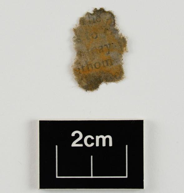 Un fragmento de papel, limpiado y secado después de sacarlo de la cámara del cañón, revela texto.
