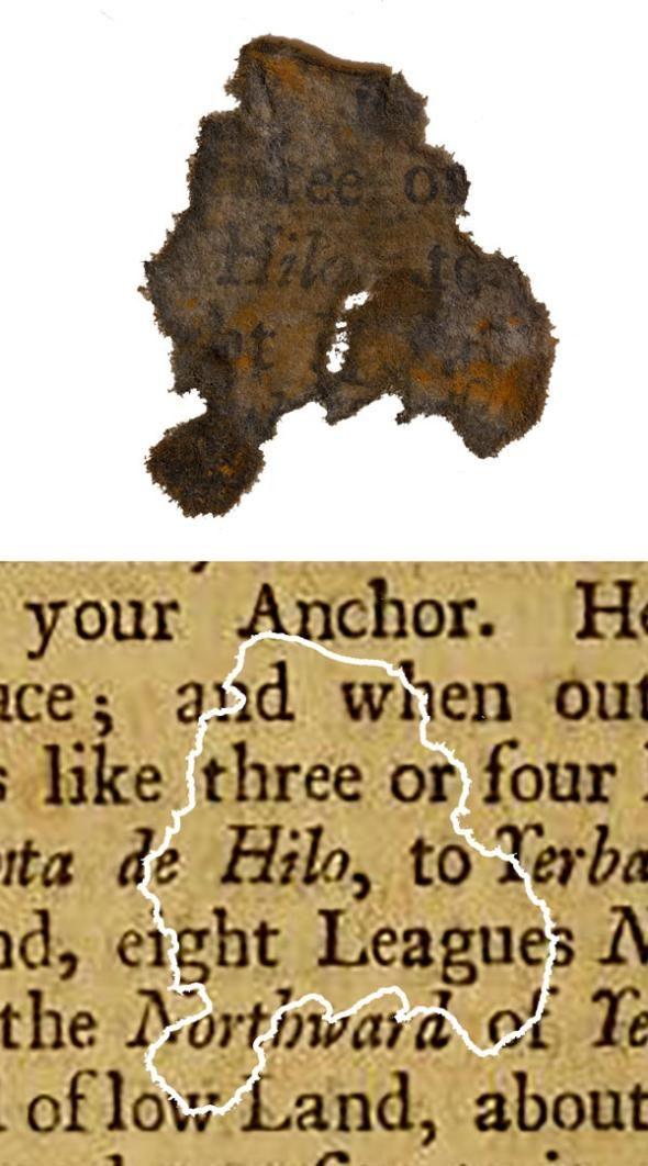 Un fragmento de papel descubierto en el buque insignia de Barbanegra, Queen Anne's Revenge, en comparación con el libro del que se determinó que era