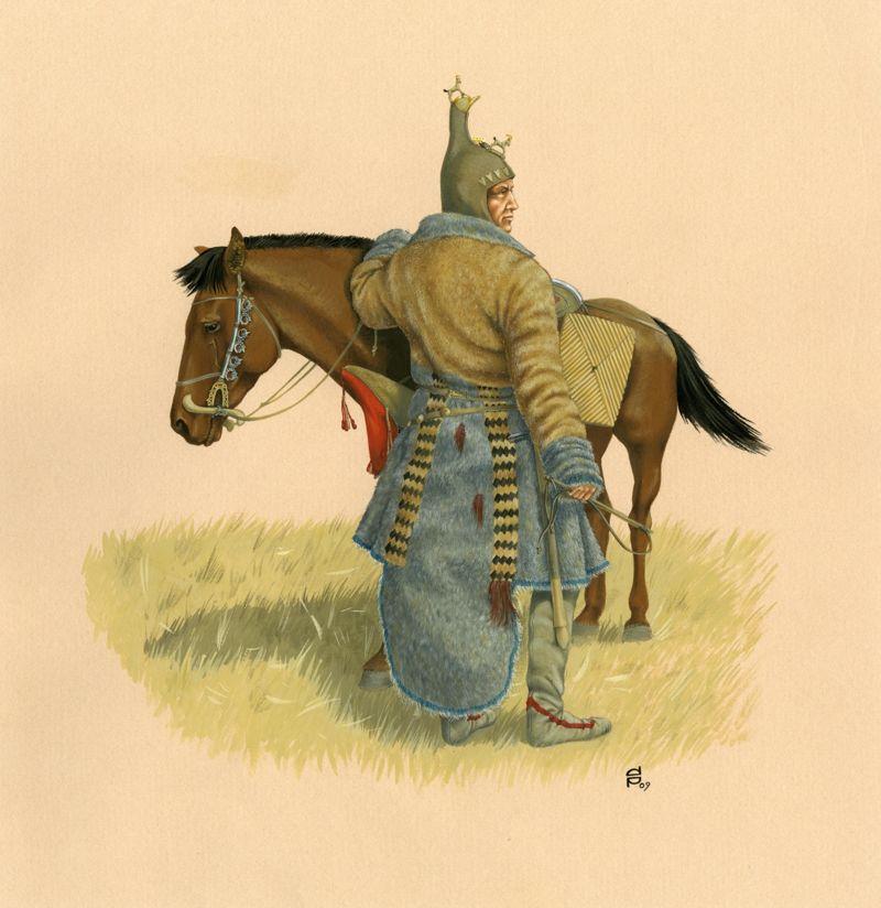 Representación artística de un hombre escita y su caballo