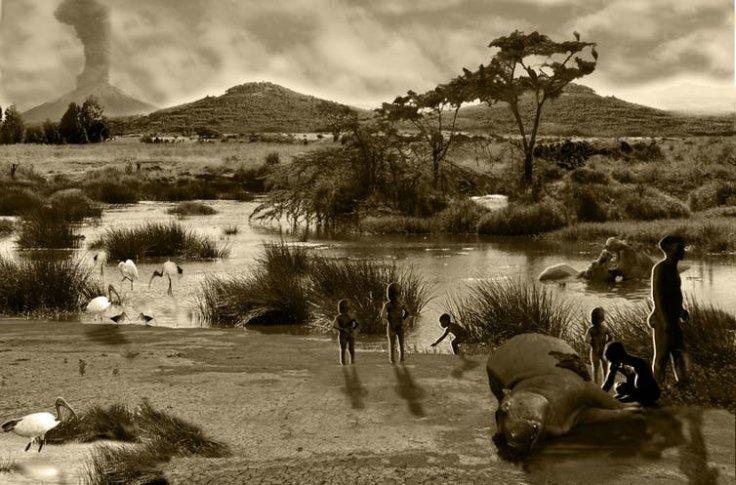 Impresión artística de la escena en Melka Kunture
