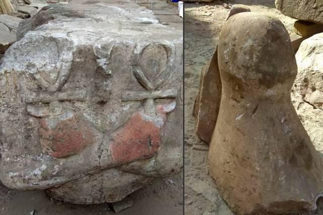 Torso (izquierda) y la corona blanca del Alto Egipto