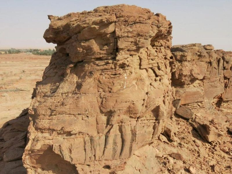 Una roca con un camello de tamaño real representado en él. Puedes ver las piernas