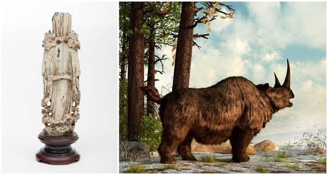 La reliquia está hecha del cuerno de un rinoceronte lanudo de hace 25,000 años