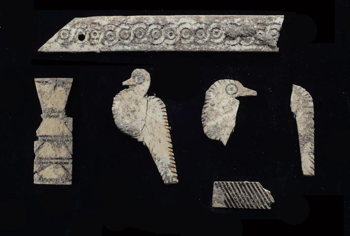 Decenas de placas incisas de marfil descubiertas en la tumba una vez cubrieron una caja de madera que ya no existe.