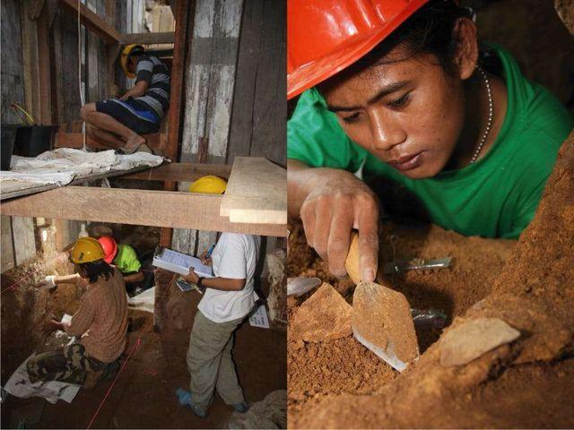 Arqueólogos indonesios trabajando en Leang Burung 2