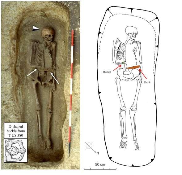 Una foto y un dibujo de los restos con la hebilla y el cuchillo en la posición en que fueron descubiertos