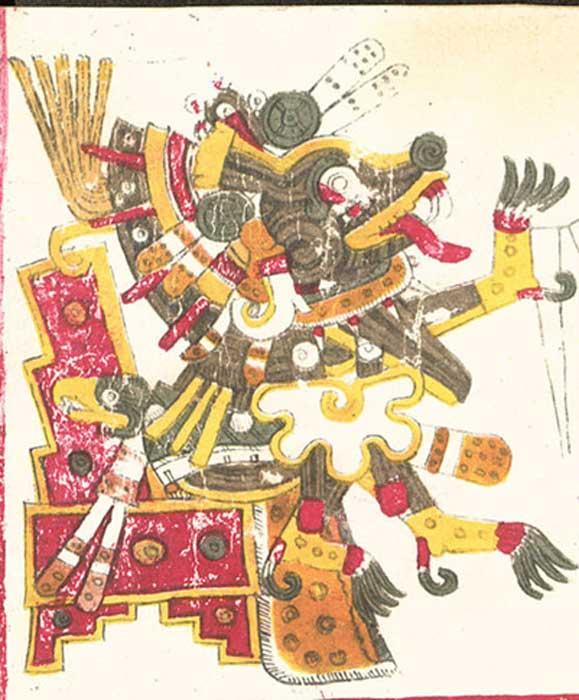 Un dibujo de Xolotl, una de las deidades descritas en el Codex Borgia , precolombino