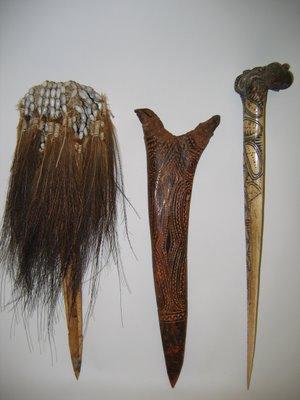 Dagas hechas de hueso. Provenientes de Papua Nueva Guinea e Irian Jaya