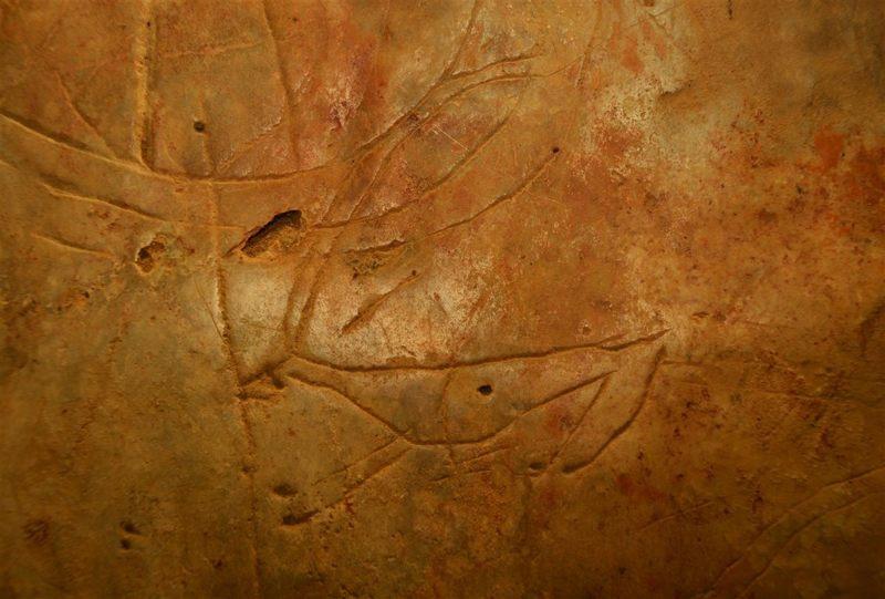 Petroglifo de la cueva de Asfendou que representa a un cuadrúpedo, probablemente un ciervo de tamaño enano y con unos cuernos descomunales. Se trata de un ciervo endémico del género extinto Candiacervus