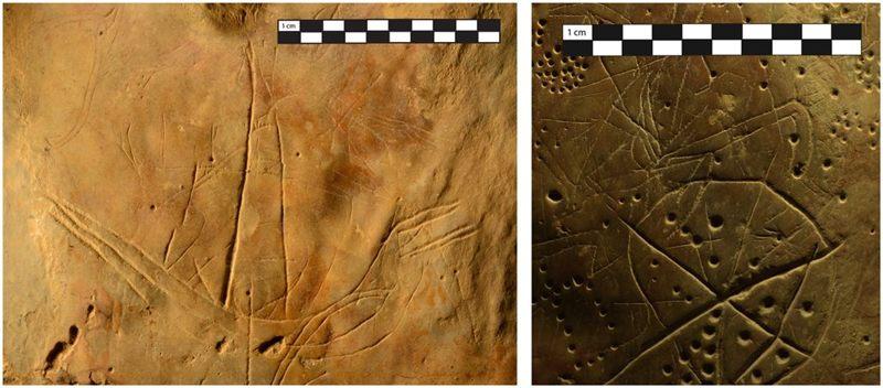 A la izquierda un grabado que representa un barco y a la derecha figuras geométricas y cuadrúpedos