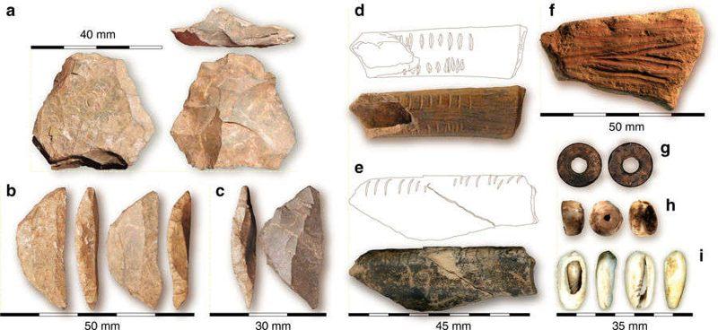 Elementos de la cueva que incluyen:  herramientas de piedra de CA de diferentes niveles . d  Hueso con muescas de la Capa 8.  e  Hueso con muescas de la Capa 9.  f  Crayón ocre de la Capa 10.  g  Cuenta de cáscara de huevo de avestruz de la Capa 8.  h  Cuenta de cáscara de conus a partir de la Capa 16.  i  Cáscara de concha de gasterópodo de la Capa 4