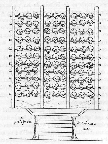 Una representación española de un tzompantli (estante del cráneo) dibujado en el siglo XVI