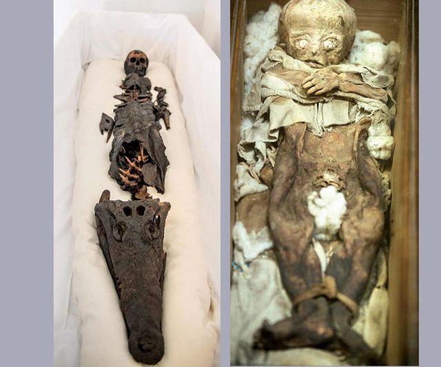 Momia egipcia de dos cabezas en el Museo del Palacio de Topkapi (izquierda) y la momia del niño en el Museo Arqueológico de Estambul (derecha), donde también se pueden encontrar otras cinco momias.