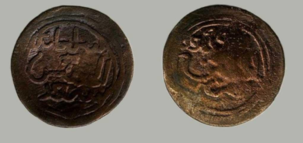 Moneda Kilwa de Sulaimán ibn al-Hasan.