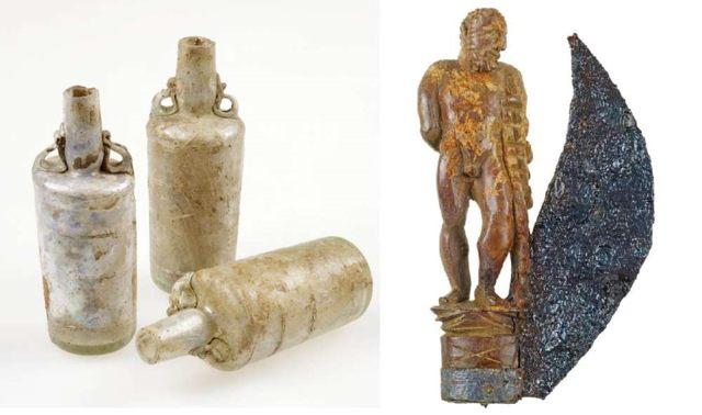 Frascos de perfume de vidrio (izquierda) y una navaja con mango en forma del semidiós Hércules (derecha)