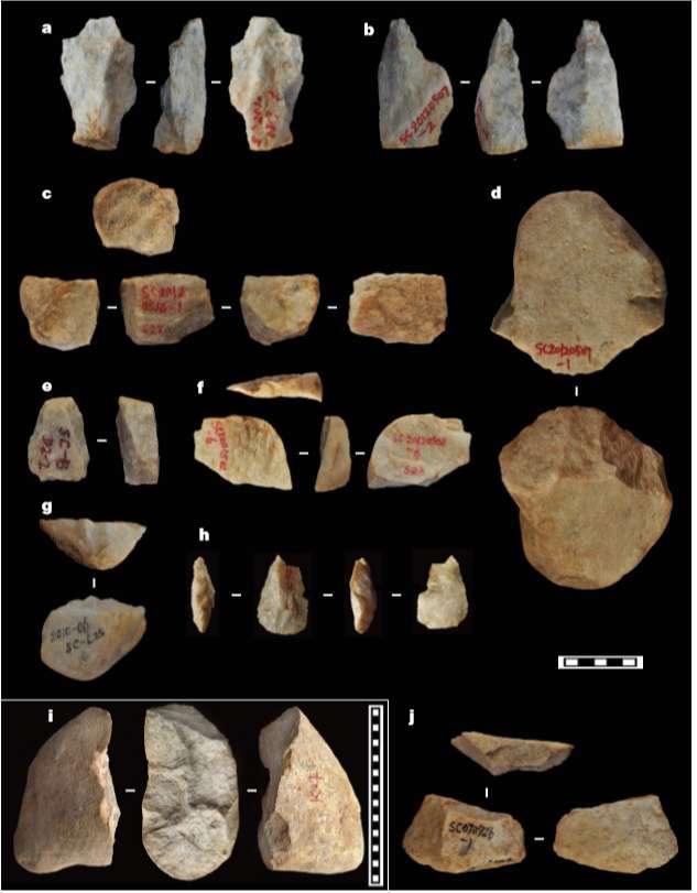 Ejemplos de varios tipos de herramientas de piedra descubiertas en las colinas Shangchen de la meseta de Loess.