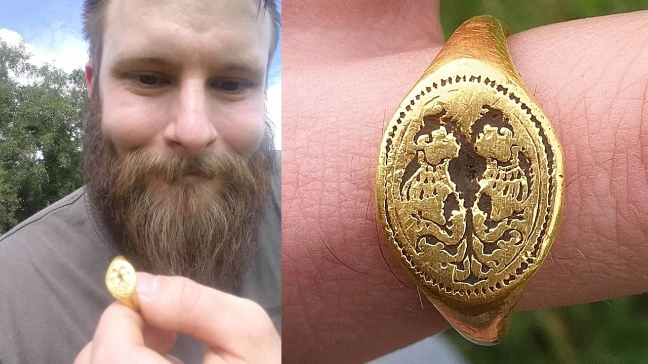 Cazador de tesoros amateur halla un anillo de sello de oro isabelino de £ 10,000 en Glastonbury