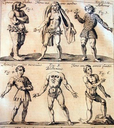 Antiguo grabado de monstruos del «nuevo mundo».