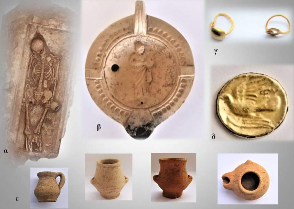 Enterramiento de tiempos helenísticos. Lucerna de época romana. Pendientes de oro de época romana. Moneda. Ejemplos de alfarería helenística.