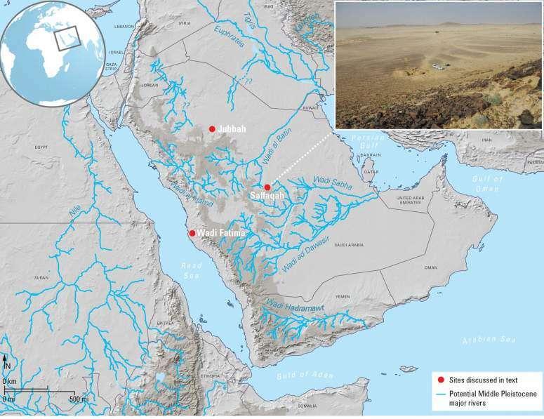 Saffaqah y otros sitios dentro de Arabia donde se encuentran herramientas de Acheulean, junto con las rutas de los ríos en tiempos más húmedos