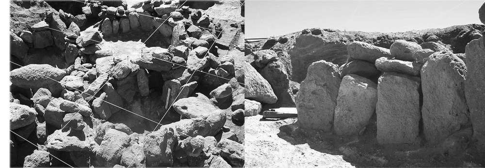 Vista general de las estructuras de Tulán-52 y detalle de un muro con grandes losas verticales
