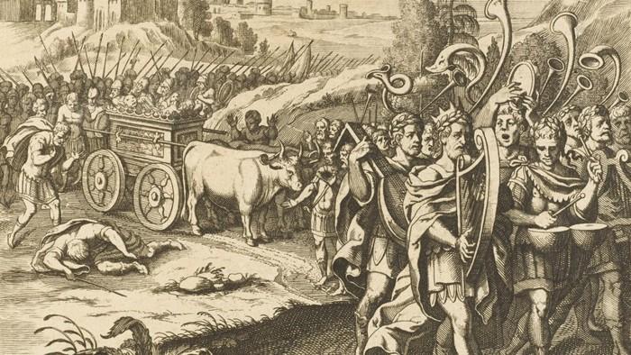 El rey David regresa con el Arca de la Alianza, luego de que los filisteos decidieran devolverla