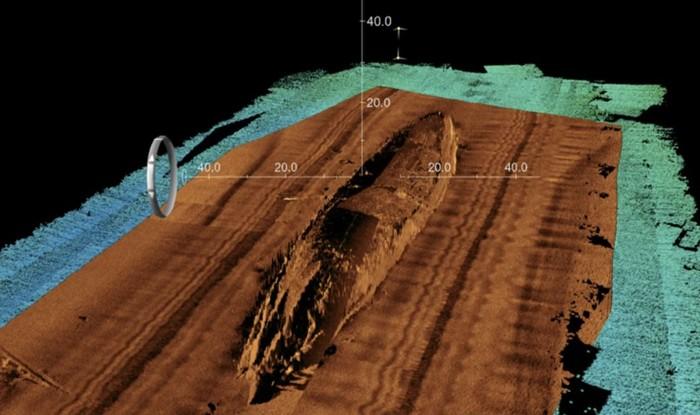 Las exploraciones de sonar revelaron una vista detallada del USS San Diego, incluido el casco donde ocurrió la explosión a las 11:23 A.M. del 19 de julio de 1918