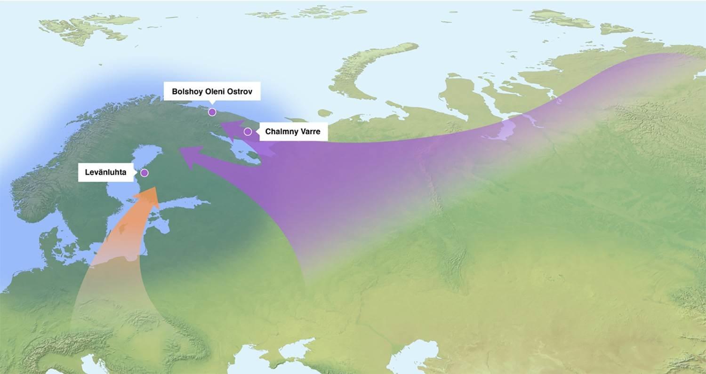 Los investigadores pudieron extraer ADN de muestras humanas antiguas que datan de 1.500 a 3.500 años atrás (tres puntos). El flujo de genes al área ahora finlandesa vino de dos direcciones diferente